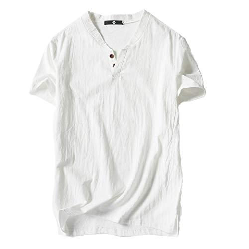 コットン Tシャツ メンズ リネン 無地 夏服 大きいサイズ...