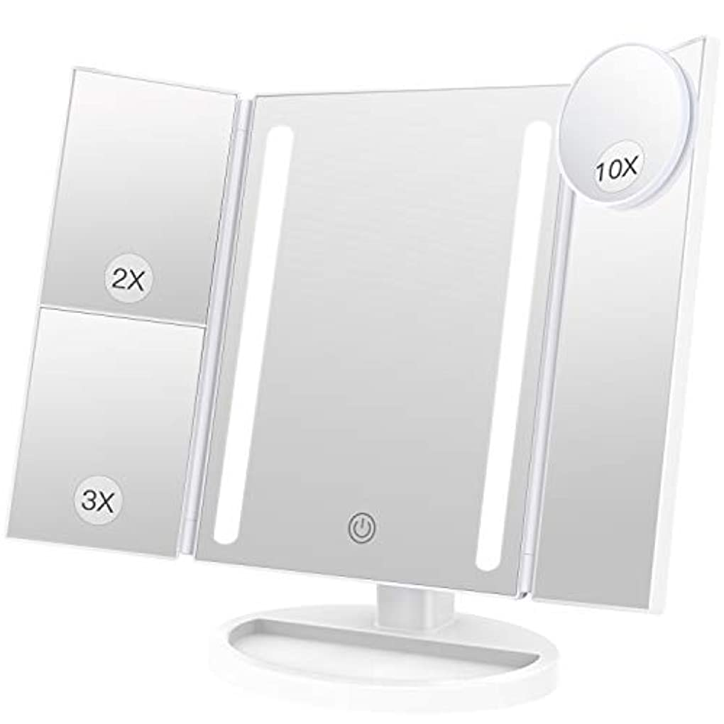 非効率的な常にワードローブBESTOPE 化粧鏡 卓上鏡 鏡 三面鏡 拡大鏡 卓上 led付き 折りたたみ 2倍&3倍 明るさ調節可能 180°回転 電池&USB 2WAY給電