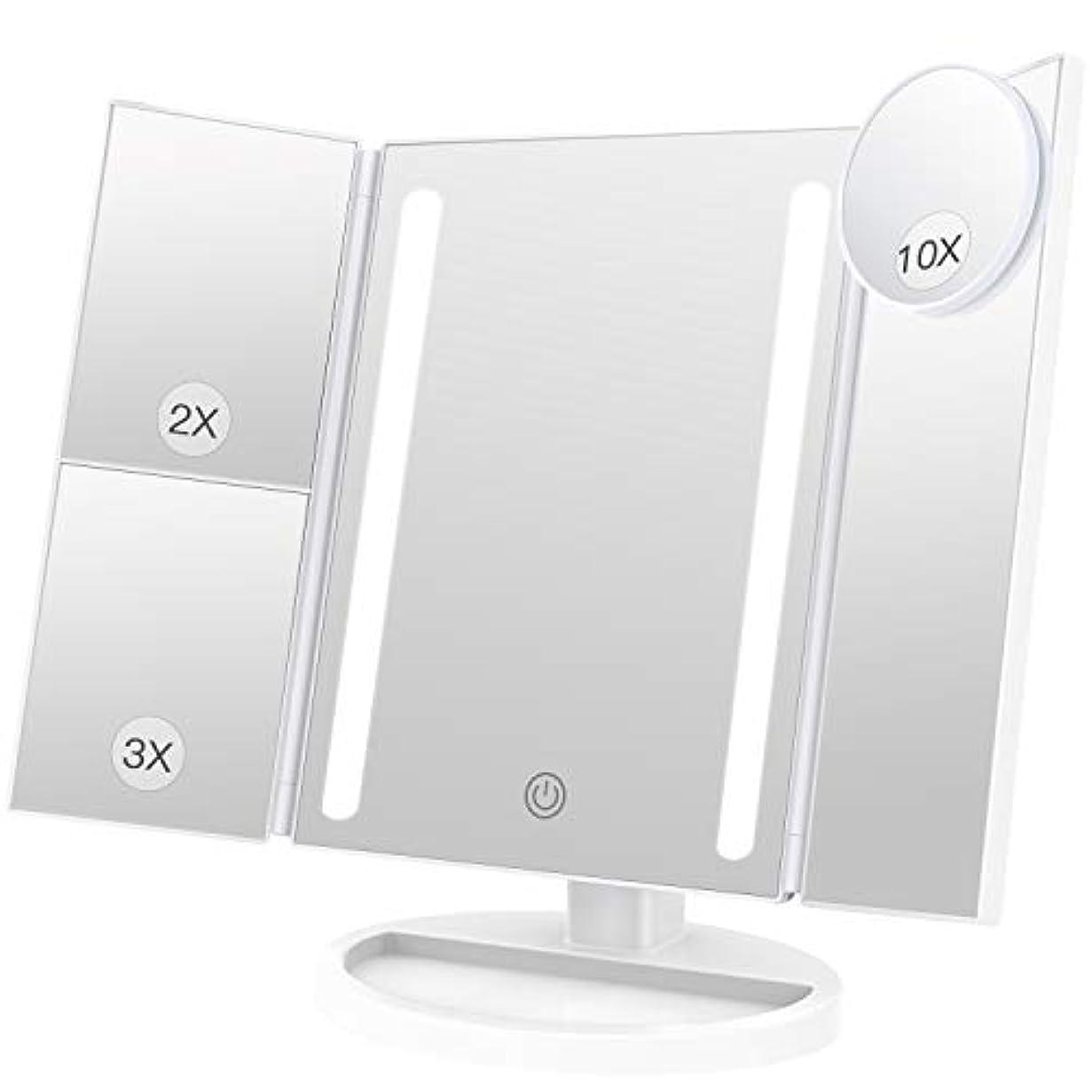 モロニック自慢ポジティブBESTOPE 化粧鏡 卓上鏡 鏡 三面鏡 拡大鏡 卓上 led付き 折りたたみ 2倍&3倍 明るさ調節可能 180°回転 電池&USB 2WAY給電