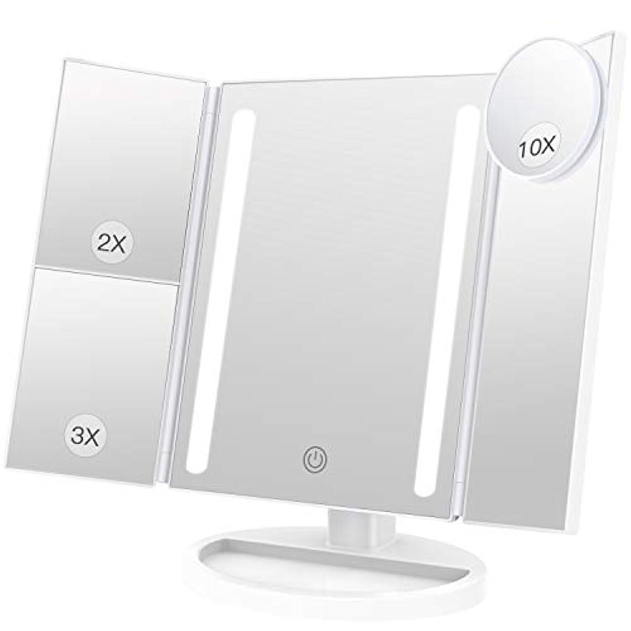 三角形食堂うなるBESTOPE 化粧鏡 卓上鏡 鏡 三面鏡 拡大鏡 卓上 led付き 折りたたみ 2倍&3倍 明るさ調節可能 180°回転 電池&USB 2WAY給電