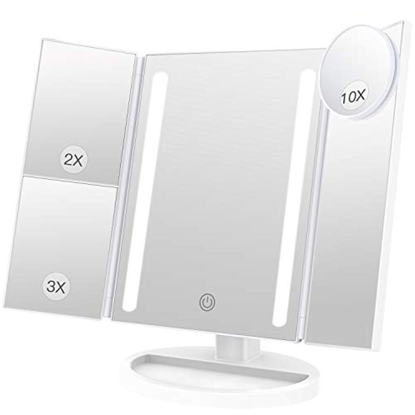 キノコ王位補うBESTOPE 化粧鏡 卓上鏡 鏡 三面鏡 拡大鏡 卓上 led付き 折りたたみ 2倍&3倍 明るさ調節可能 180°回転 電池&USB 2WAY給電