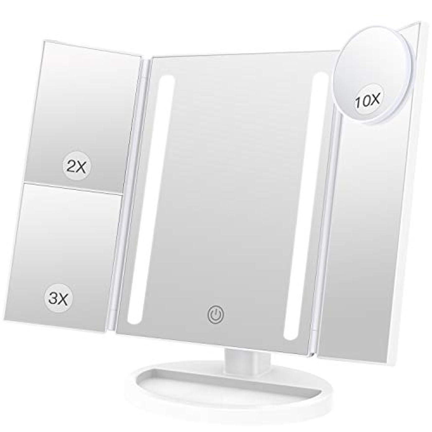 用心識別適切にBESTOPE 化粧鏡 卓上鏡 鏡 三面鏡 拡大鏡 卓上 led付き 折りたたみ 2倍&3倍 明るさ調節可能 180°回転 電池&USB 2WAY給電