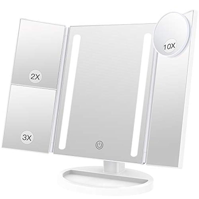 適切なモニター者BESTOPE 化粧鏡 卓上鏡 鏡 三面鏡 拡大鏡 卓上 led付き 折りたたみ 2倍&3倍 明るさ調節可能 180°回転 電池&USB 2WAY給電