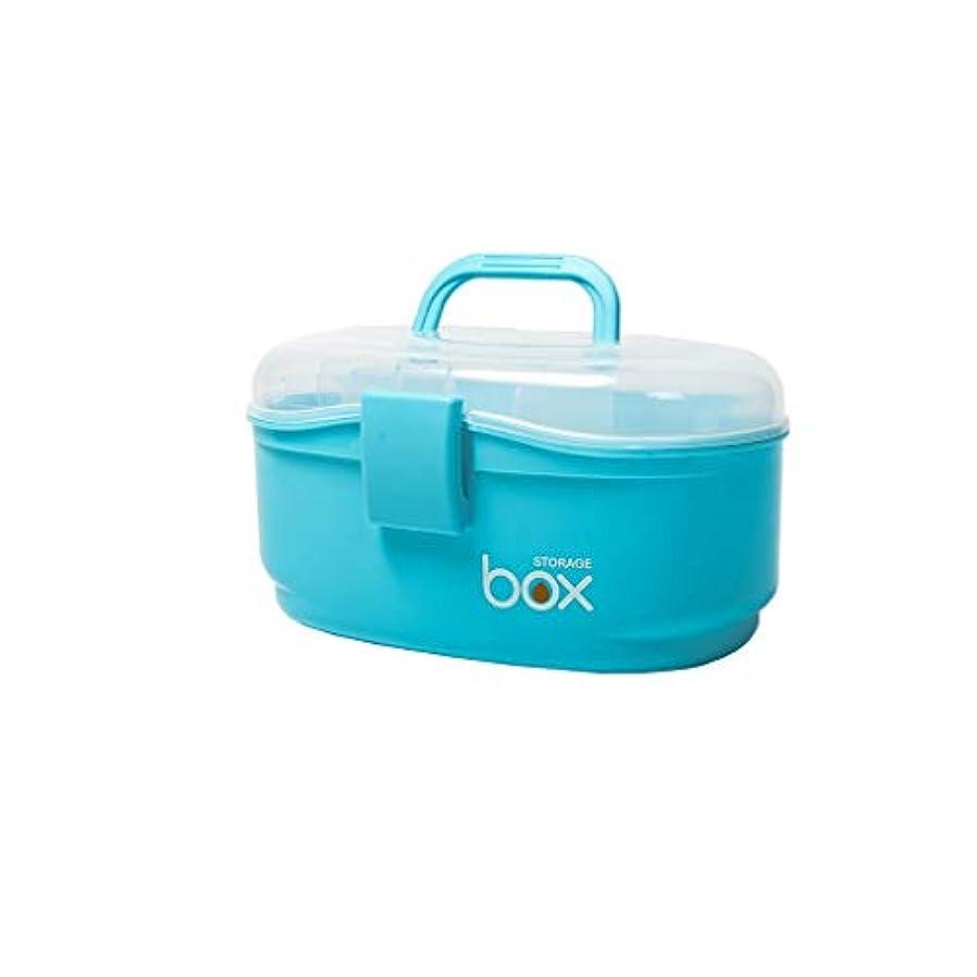 混乱した科学着る家庭用薬箱薬収納ボックス多層薬箱ポータブル救急箱多機能薬箱 CQQO (Color : Blue, Size : 23.5×14.8×15cm)