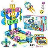マーブルランゲーム付きHippococo磁気3Dビルディングブロック新しいSTEM玩具(60 PCS)