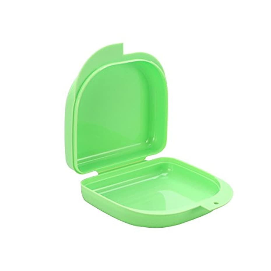 折り目本土に応じてROSENICE 義歯ケース口ガードケース義歯ボックス義歯収納容器(緑)