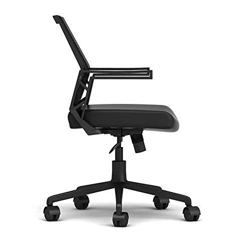 LCAIHUA 作業椅子回転椅子高弾性プーリー人間工学アームレストスタッフ会議レポーター (Color : Black, Size : 115X56CM)