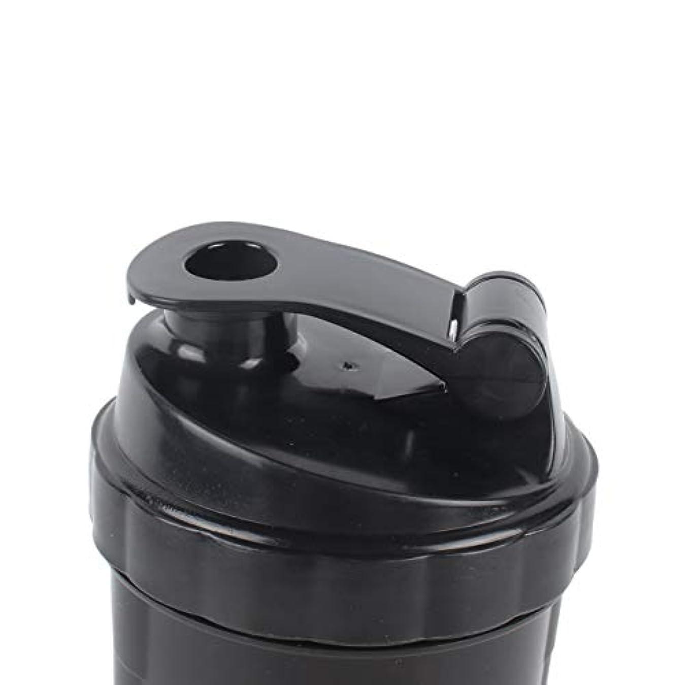 DeeploveUU ポータブルジムプロテインシェーカーミキサーボトルポータブルスポーツランニングジョギング泡立て器ボールシェーカーボトル