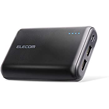 エレコム モバイルバッテリー 大容量 10050mAh 2ポート 3.6A出力 [iPhone&iPad&andorid 対応] ブラック EC-M01BK
