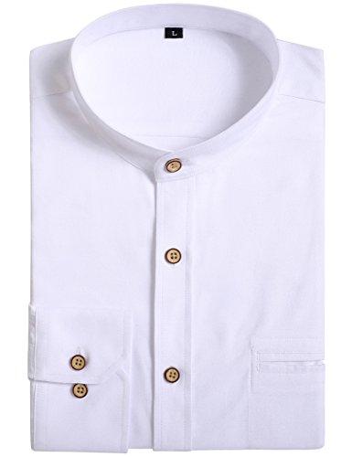 JEETOOオックスフォード バンドカラーシャツ メンズ 長袖 スタンドカラーシャツ ビジネスシャツ 無地 カジュアルシャツ(ホワイト,L)