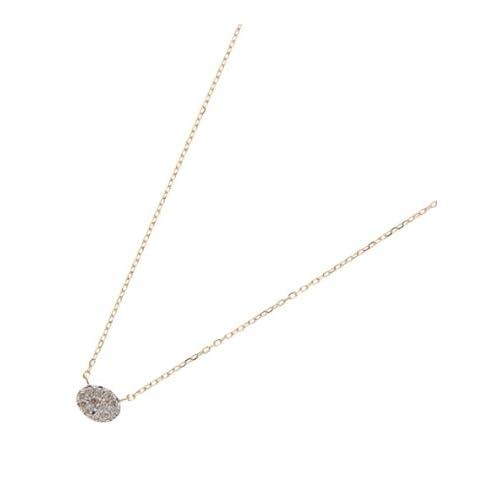 COCOSHNIK(ココシュニック)(K18)ダイヤモンドオーバル パヴェネックレス イエローゴールド(404) 40