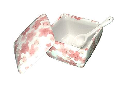 満開桜 薬味入 日本製 陶器 スプーン付き 一味 塩 山椒 七味 うどん そば 豆板醤 辛子 業務用食器 ACSWEBSHOPオリジナル