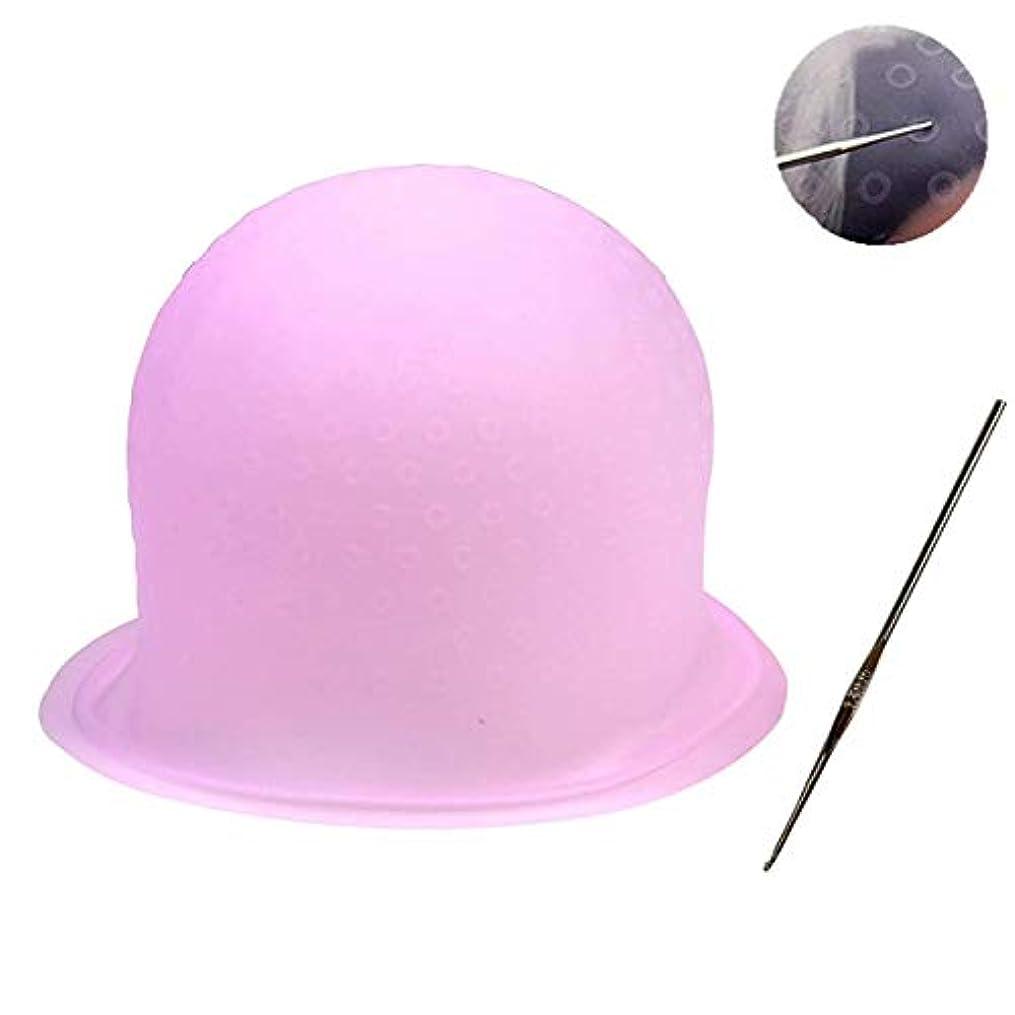 花束アミューズフォアタイプ毛染めキャップ 毛染め ハイライトキャップ ブリーチ 髪 シリコン素材 カラーリング 不要な染めを避ける 洗って使える(ピンク)