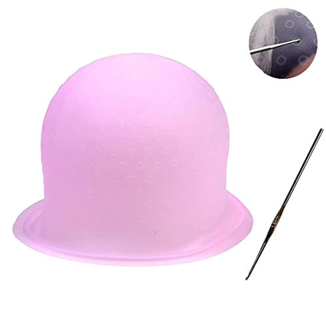 インク酸素イソギンチャク毛染めキャップ 毛染め ハイライトキャップ ブリーチ 髪 シリコン素材 カラーリング 不要な染めを避ける 洗って使える(ピンク)