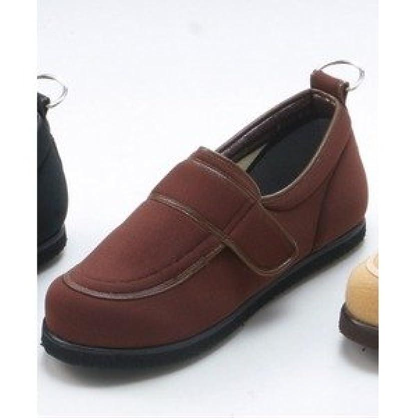 憲法カプラー不従順介護靴/リハビリシューズ ブラウン LK-1(外履き) 【片足のみ 22cm】