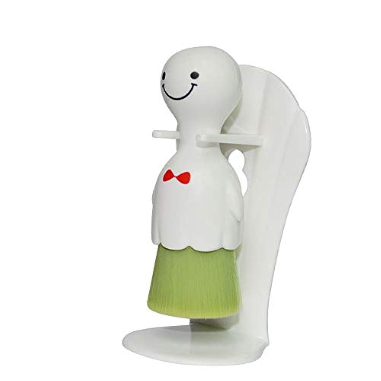 気分アヒル厳LYX 吸盤タイプサニー人形クレンジングブラシビッグホワイトウォッシュブラシ海藻毛手動クリーニングツールスマイル (Color : 白)