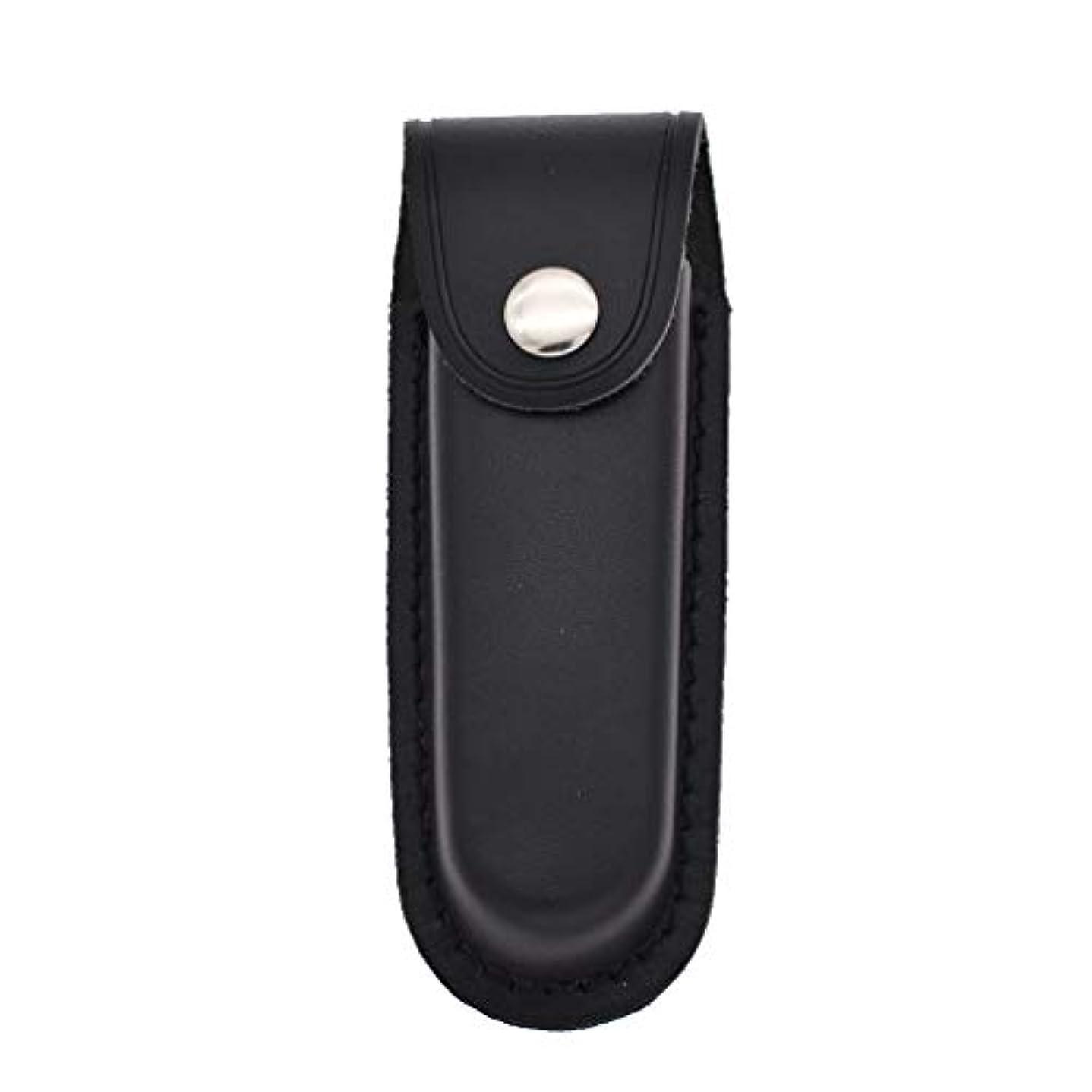 着陸有害な蓮Hongma レザーナイフシース 折り畳みナイフ用 スナップ閉鎖 ブラック