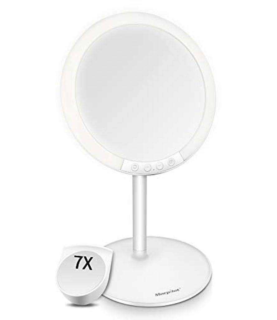 運賃十分によろめくMotpilot 化粧鏡 卓上ミラー 鏡 化粧ミラー 女優ミラー LEDミラー スタンドミラー USB充電式 寒暖色調節可能 明るさ7段階調節可能 7倍拡大鏡付き 120°回転 ホワイト