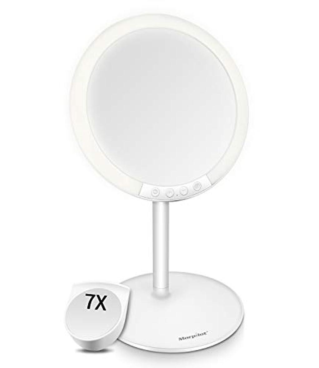 火人工一緒Motpilot 化粧鏡 卓上ミラー 鏡 化粧ミラー 女優ミラー LEDミラー スタンドミラー USB充電式 寒暖色調節可能 明るさ7段階調節可能 7倍拡大鏡付き 120°回転 ホワイト