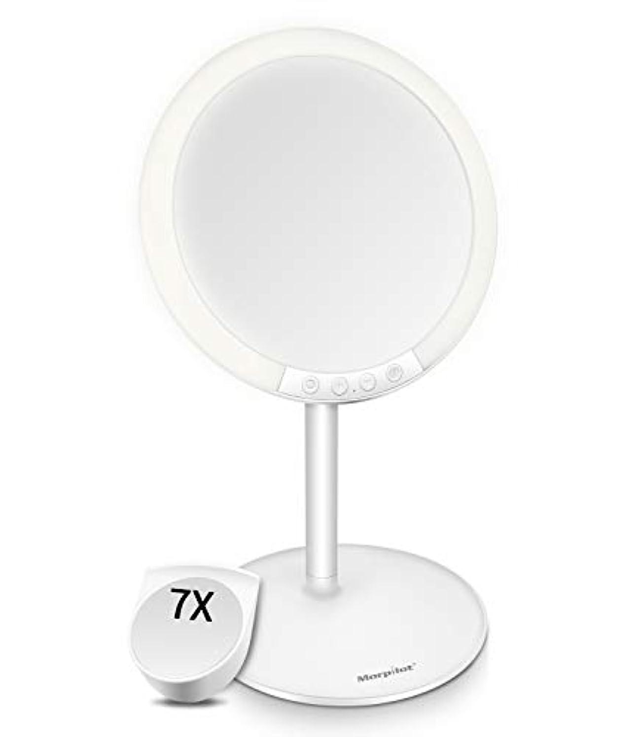 プレゼン拡声器血色の良いMotpilot 化粧鏡 卓上ミラー 鏡 化粧ミラー 女優ミラー LEDミラー スタンドミラー USB充電式 寒暖色調節可能 明るさ7段階調節可能 7倍拡大鏡付き 120°回転 ホワイト