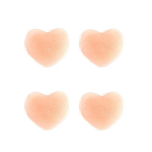 良品優選 レディース 女性用 ニプレス ニップル ヌーブラ 2セット 乳首隠し 胸ポチ 透け 防止 水着・フィットネス・ワンピース 用 ノーブラ感覚 ハート型 ニップル シリコンパッド