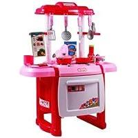 Juna Creation 子供用キッチンプレイセット ストーブ、ポット、食べ物、調理器具付き
