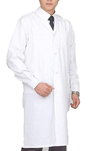 【Y.WINNER】改良版 白衣 実験衣 メンズ 用 男性 ドクター医師診察衣 長袖 両脇ポケット付き ホワイト (M)