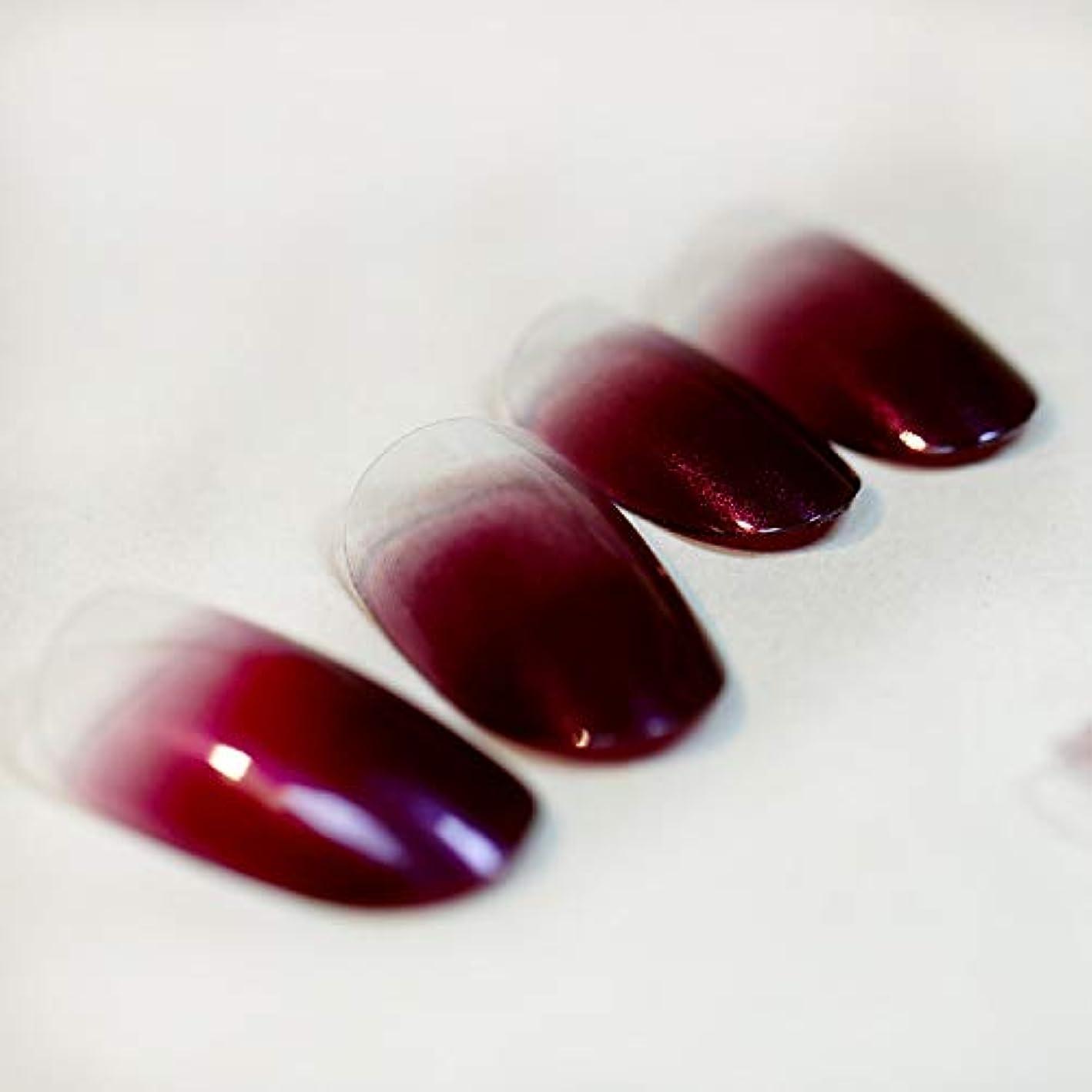 倍率神秘的な緩める高品質 超薄型ネイル 24枚 カラーグラデーション ミディアムレングスラウンドヘッド 人気 いろいろな色のオプション 可愛い優雅ネイル (ワインレッド)