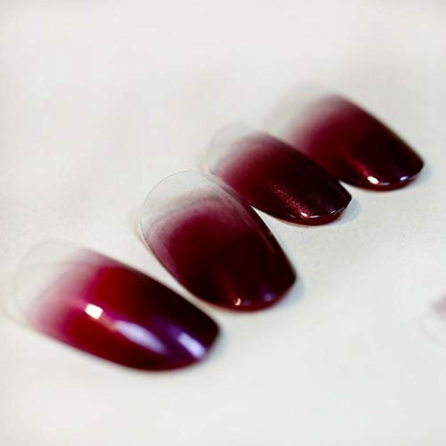 のためにしがみつく洗練高品質 超薄型ネイル 24枚 カラーグラデーション ミディアムレングスラウンドヘッド 人気 いろいろな色のオプション 可愛い優雅ネイル (ワインレッド)