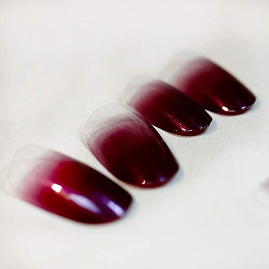 準備アルミニウム興奮する高品質 超薄型ネイル 24枚 カラーグラデーション ミディアムレングスラウンドヘッド 人気 いろいろな色のオプション 可愛い優雅ネイル (ワインレッド)