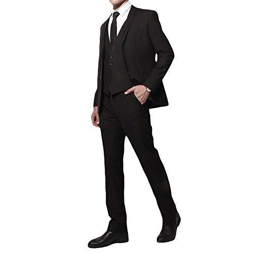 YIMANIE フォーマルスーツ メンズ スリーピース セットアップスーツ ブラックスーツ 一つボタン 二つボタン ビジネス 紳士服 オールシーズン オシャレ カジュアル 礼服 喪服 冠婚葬祭 黒 防シワ プレゼント (ブラック(2つボタン), X-Small)