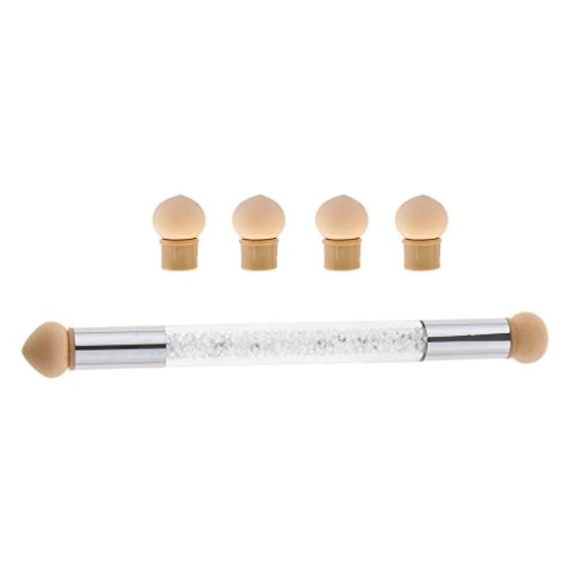 Perfk ネイルアート スポンジブラシ ドットペン 4個 交換用 スポンジヘッド ネイルブラシ UVゲル DIY アクリル爪 2色選べる - 白