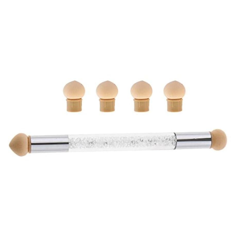 騒波時制Perfk ネイルアート スポンジブラシ ドットペン 4個 交換用 スポンジヘッド ネイルブラシ UVゲル DIY アクリル爪 2色選べる - 白