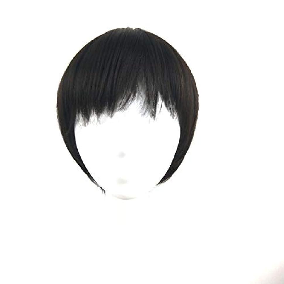 推測するレイ法廷Summerys ウィッグショートヘア斜め前髪ウィッグヘッドギア自然に見える耐熱性女性用 (Color : Black)