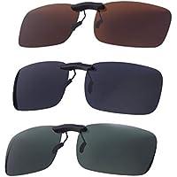 VORCOOL 3pcs Sunglasses Clip on Flip Up Polarized Lens Frameless Rectangle Lens Clip on Prescription Sunglasses Eyeglass for Myopia Glasse