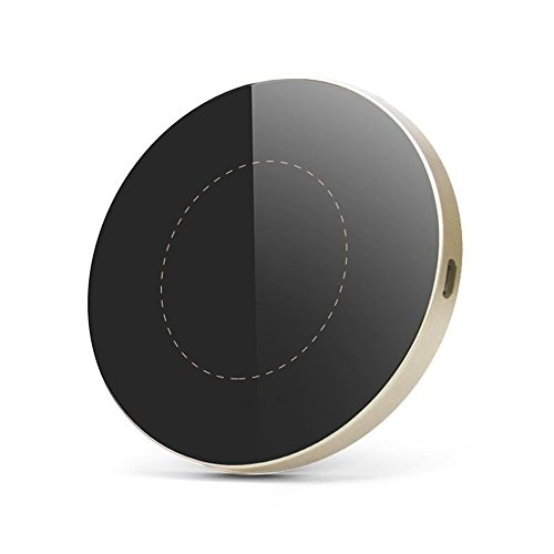 Ewin「進化版」Qi ワイヤレス充電器 急速充電 (第2世代 10W) ワイヤレスチャージャー 置くだけ充電 iPhone X/8/8 Plus/Galaxy S8/S8 Plus/S7/S7 Edge/S6/S6 Edge/Note 8/Note 5/Nexus 5/6 対応 他のQi対応機種 qi 充電器 USBケーブル付(G3丸形, ゴールド)