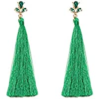 Colette Hayman - Top Stone Green Tassel Statement Earrings