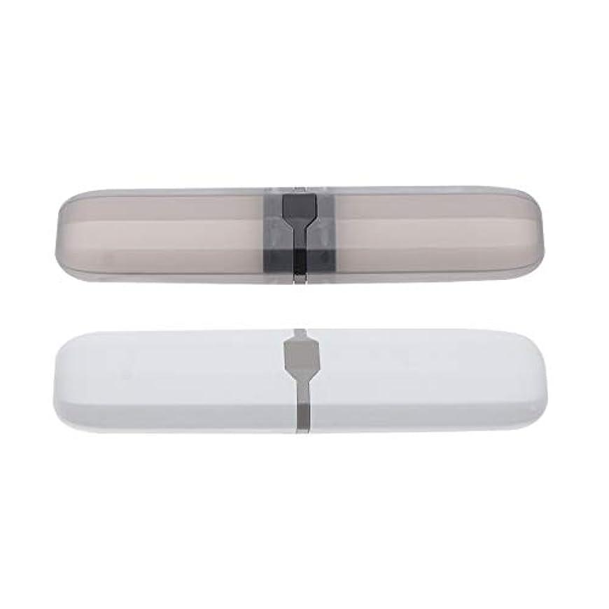 軸民間人皮肉なHealifty 歯ブラシケースポータブル屋外2ピース(ランダムな色)の旅行用歯ブラシ収納ボックス