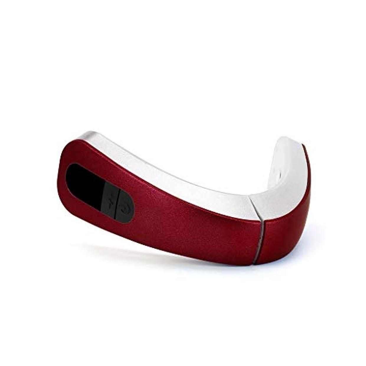 エアコンりしがみつくリフティングフェイシャル、電気マッサージ美容器具、リフティングファーミングファットディゾルビングシンフェイスシンダブルチンシンフェイス、4つのマッサージモードがあります (Color : Red)