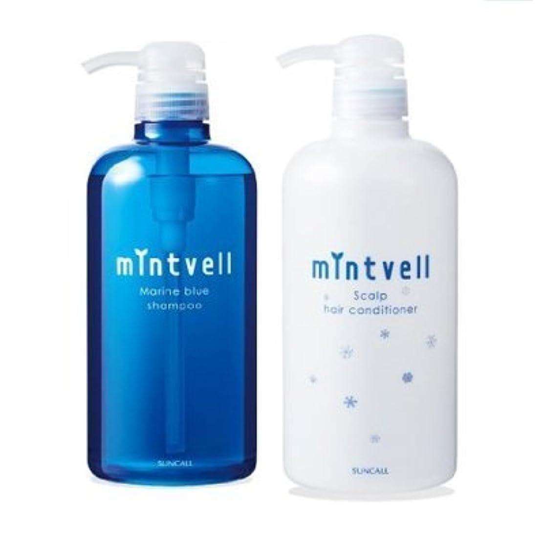 外向き香り傾向がありますサンコール ミントベル マリンブルー シャンプー 675ml + スキャルプヘアコンディショナー 675ml ポンプセット
