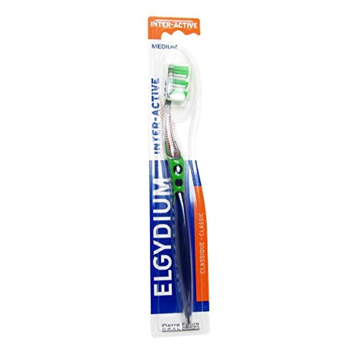 とは異なりひどくクラウドElgydium Inter-active Medium Toothbrush [並行輸入品]