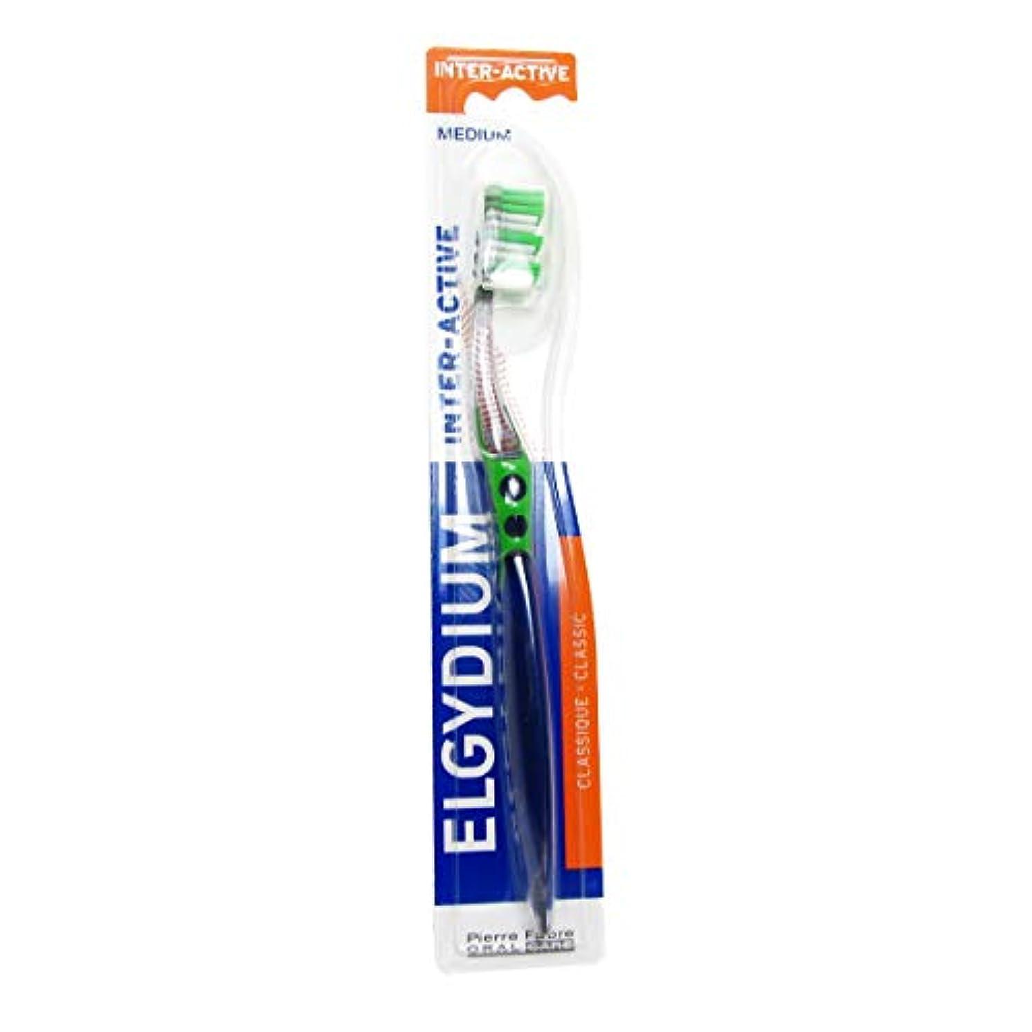 湿度感覚に向かってElgydium Inter-active Medium Toothbrush [並行輸入品]