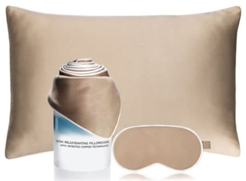 創始者罹患率アトムイルミナージュ 寝ながらスキンケア(銅テクノロジーを用いたエイジングケア繊維)?トータルエイジングケアセット/アイマスク(1枚)& 枕カバー(1枚)セット