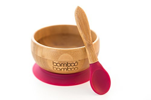 Baby Suction Bowls and Matching Spoon Set, Suction Stay Put Feeding Bowl, Natural Bamboo (Cherry)