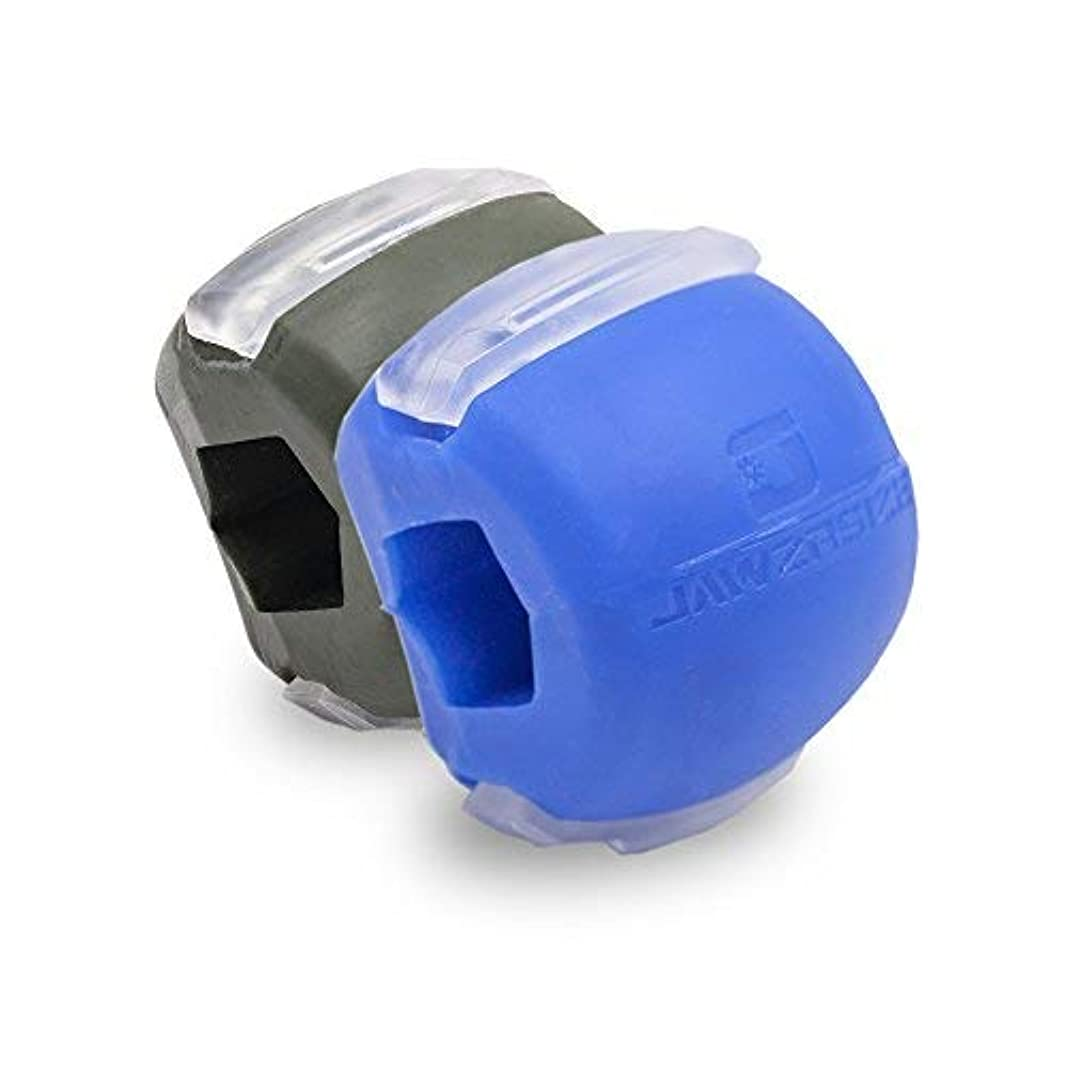 設置ニッケルハプニングJawzrsize フェイストナー、ジョーエクササイザ、ネックトーニング装置 (20/50 Lb. 抵抗) 2パック - レベル1と3 - 青/緑