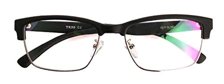 発行サラダ百万SHOWA (BLC) ブルーライト カット 紫外線 カット 遠近両用 メガネ クラシック ウェリントン (マット ブラック) (メンズ セット) 全額返金保証 老眼鏡 リーディンググラス 眼鏡 (瞳孔距離:69mm~70mm...