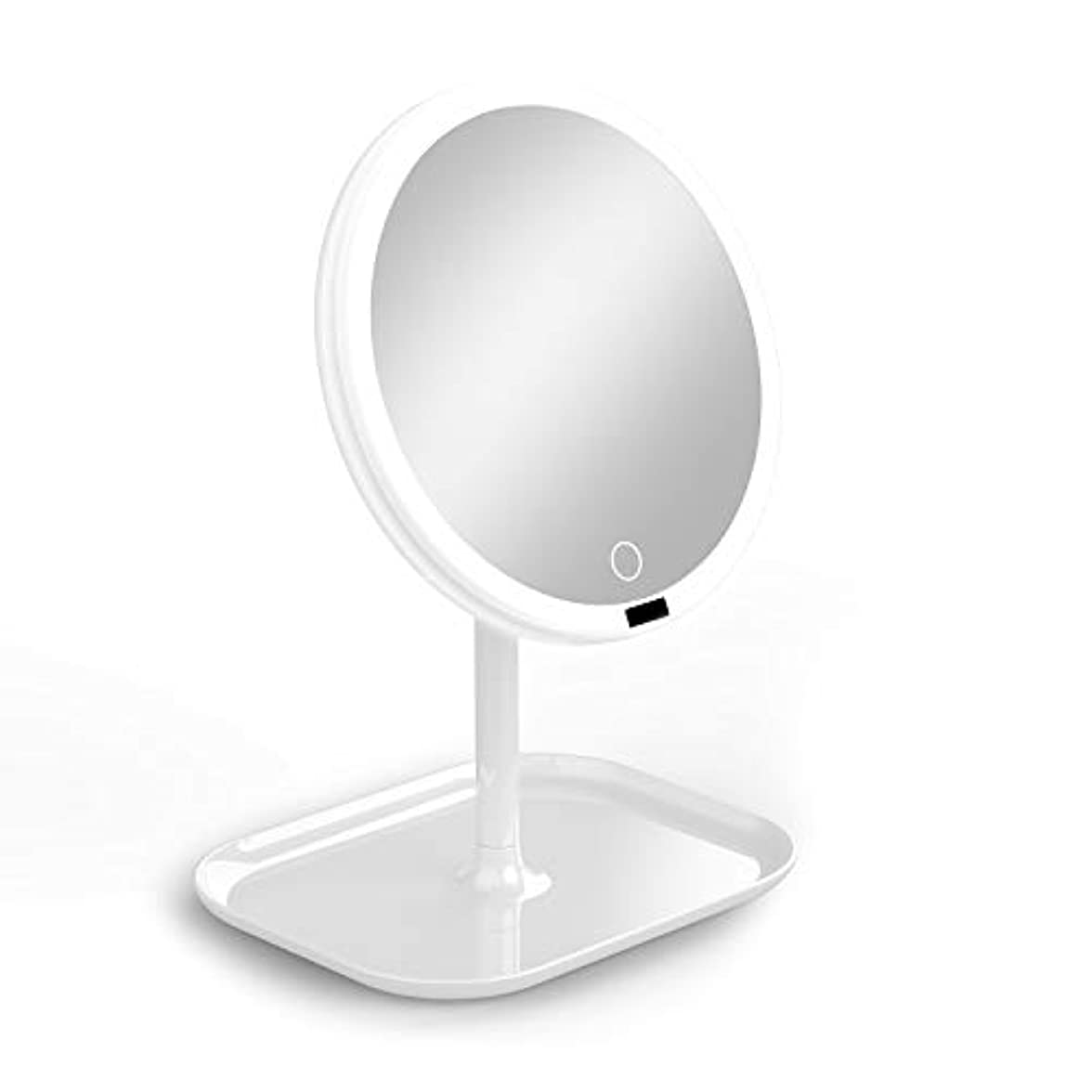 修羅場貫通袋La Farah 化粧鏡 化粧ミラー LEDライト付き 卓上鏡 女優ミラー 3段階明るさ調節可能 180度回転 コードレス 充電式 円型