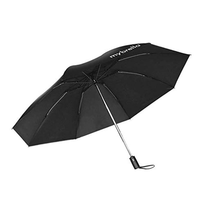 気づかないたっぷり緊急リバースアンブレラフルオートフォールス日焼け止めアンチUV二重使用傘 (Color : Black)