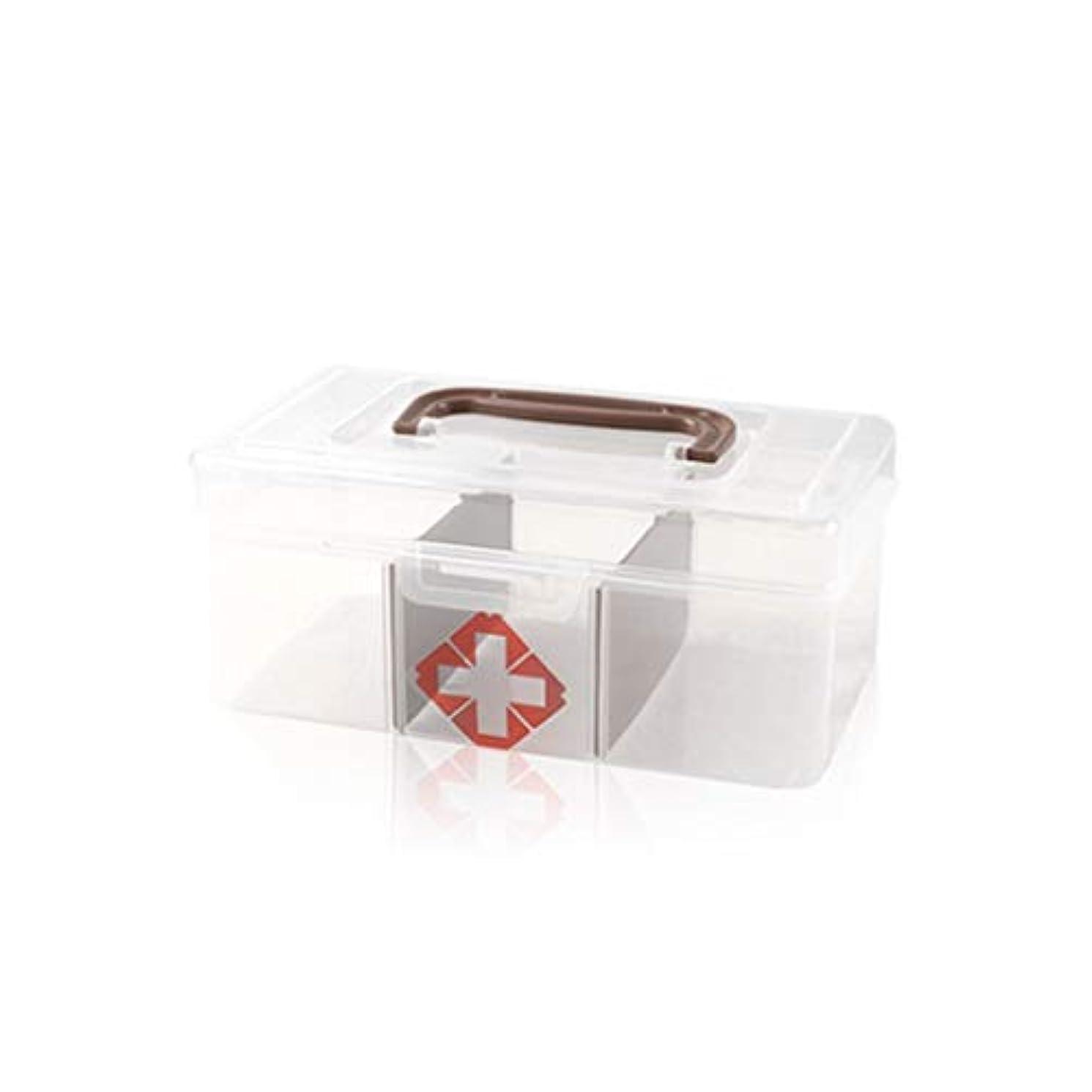逃げる廃棄サーフィンYYFRB 小さな透明な薬箱、家庭用ポータブルプラスチック薬収納ボックス 医学パッケージ (Color : Brown)