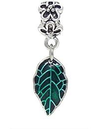 J&M Dangle Spring Green Leaf Charm Bead for Bracelets